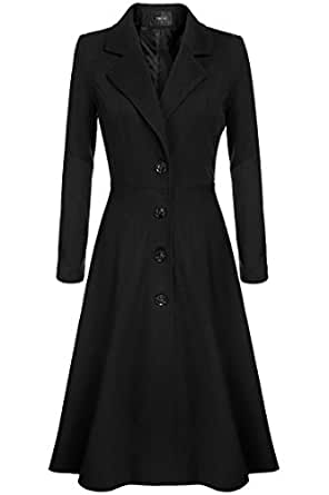 Amazon.com: Women Single Breasted Plus Size Long Trench ...