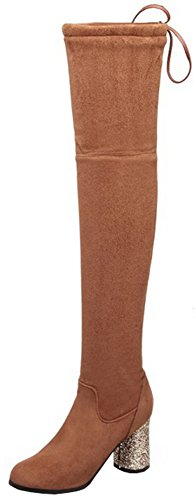 Sequined Knee High Boot (Mofri Women's Sexy Faux Suede Sequined Pointed Toe Block High Heel Skinny Pull On Thigh High Long Boots With Drawstring (Brown, 5 B(M) US))
