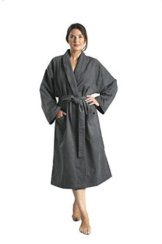 Monarch/Cypress Chamois Shawl Hotel Robe - Lightweight Microfiber Absorbent Soft Spa Bathrobe in Charcoal/XL
