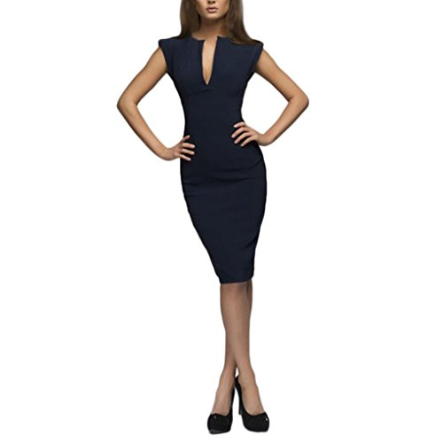 Pervobs Dress Clearance! Women Summer Solid V-Neck Slim Casual Working Sleeveless Elegant Pencil Dress (L, ()
