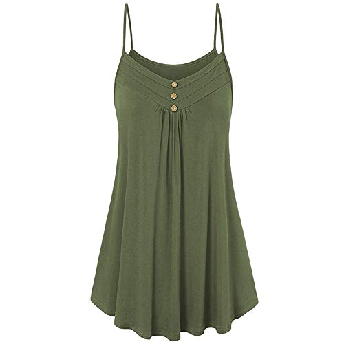 vermers Womens Camisoles and Tanks Summer Casual Button V Neck Spaghetti Strap Cami Loose Fit Tank Tops Vest Blouse(L, ArmyGreen)