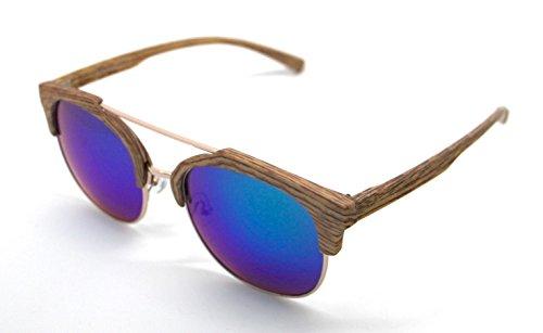 W7017 UV Mujer Lagofree Hombre Sol de Sunglasses 400 Madera Gafas tHwqX0O7