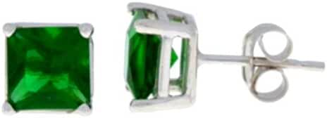 Simulated Emerald Princess Cut Stud Earrings .925 Sterling Silver Rhodium Finish
