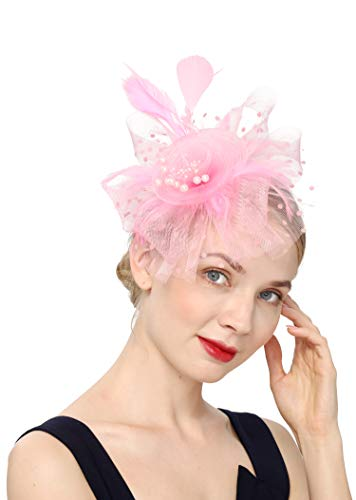 Cizoe Flower Cocktail Tea Party Headwear Feather Fascinators Top Hat for Girls and Women(1-Pink)