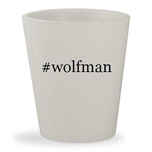 [#wolfman - White Hashtag Ceramic 1.5oz Shot Glass] (Van Helsing Wolf Costume)