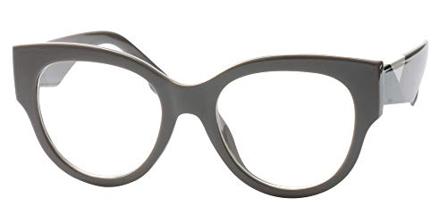 SOOLALA Ladies Modern Fashion Prescription Eyeglass Frame Cat Eye Reading Glass, Gray, ()
