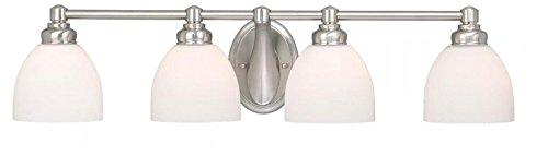 Vaxcel USA STVLD004BN Stockholm 4 Light Bathroom Vanity Lighting Fixture in Nickel, Glass
