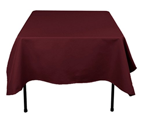 TEKTRUM 70 X 70 INCH 70X70 SQUARE POLYESTER TABLECLOTH - THICK/HEAVY DUTY/DURABLE FABRIC (Burgundy)