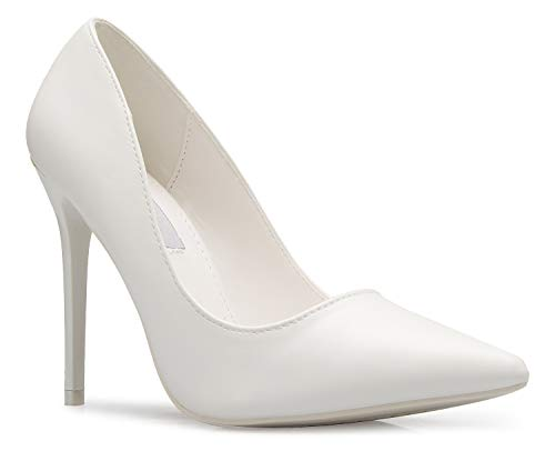 OLIVIA K Women's Classic D'Orsay Closed Toe High Heel Pump - Casual Comfortable White