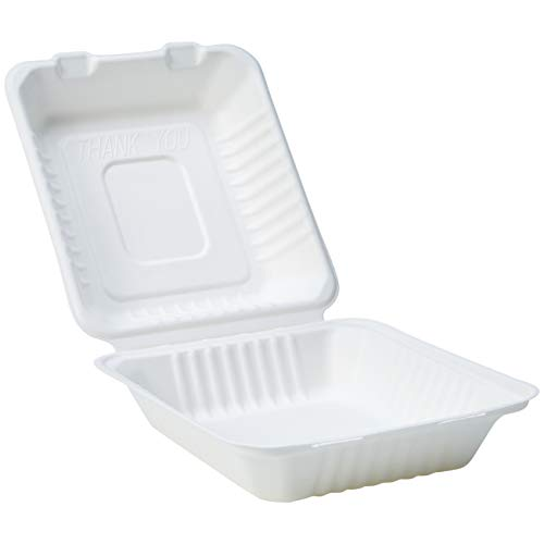 AmazonBasics Compostable Clamshell Hinged Food Container, 8.66 x 8.07 x 3 Inches, 200 Containers