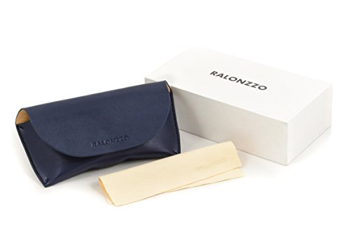 Premium Leather Glasses Case by RALONZZO - For Men & Women, Sunglasses & Eyeglasses, Universal Size (Blue Graphite) by RALONZZO