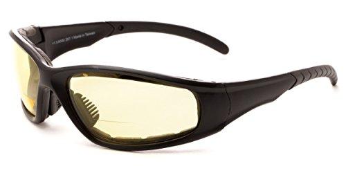 Readers.com Night Driver Bifocal EVA Safety Goggles +2.00 Black with Yellow Night Driver Safety Goggles Sport & Wrap-Around Reading - Company Best Glasses
