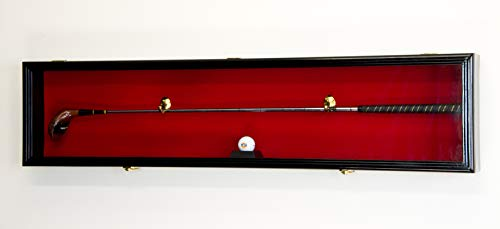 - 1 Golf Club Ball Putter Driver Iron Display Case Cabinet Rack w/98% UV (Black Finish, Red Background)