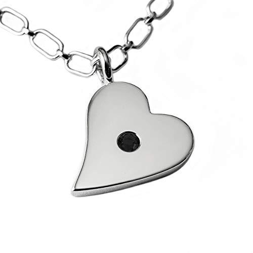 (Black Spinel Sideways Heart Pendant in Sterling Silver, Black Spinel Heart Necklace, Sterling Silver Heart Pendant, Sterling Silver Heart Necklace, Black Heart Charm, Black Minimal Heart)