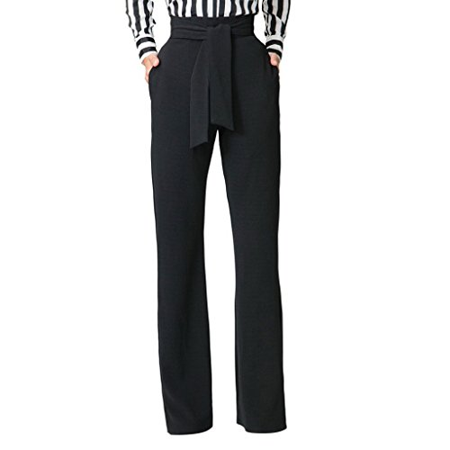 (GUOLEZEEV Women's Casual Straight-Leg High Waist Palazzo Pants with Belt Black XL)