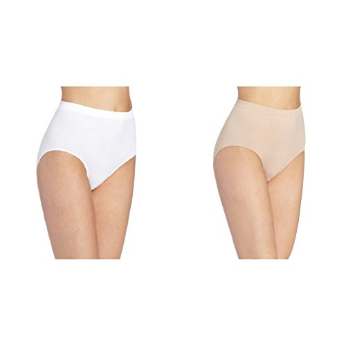 (Bali Women's 2 Pack Microfiber Brief Panty, White/Nude,)