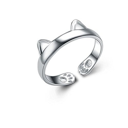 (Winuxury Women's Elegant 925 Sterling Silver Dragon Cat Rings Gothic Genuine Evening Party Knuckle Ring)