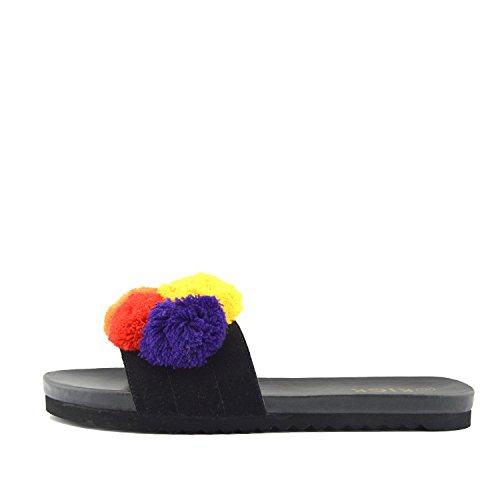 Noir Tan Pom Femmes Sandales Confortables En Cuir Curseur