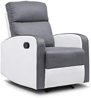 IDMarket Fauteuil Relaxation inclinable Gris Anthracite et Blanc