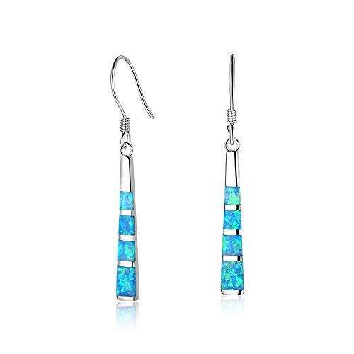 Drop Dangle Earring Blue Opal Dangle Bar Earrings Gems Dangle Women Jewelry (Long Bar)