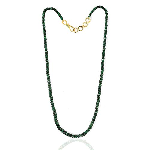 Neerupam collection 47 Carat, Natural Green Zambian Emerald Faceted rondelle Beads Gemstone Necklace, Natural Emerald Precious Gemstone Beaded Necklace, Emerald Jewelry, for Women and Girls (Bead Necklace Green Faceted Emerald)