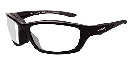 136452a4158 Image Unavailable. Image not available for. Color  Wiley X BRICK Clear  Lenses Gloss Black Frames (853)