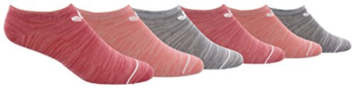 adidas Womens Originals Blocked Space Dye No Show Socks (6-Pack), Pink Space Dye/W, Size 5-10