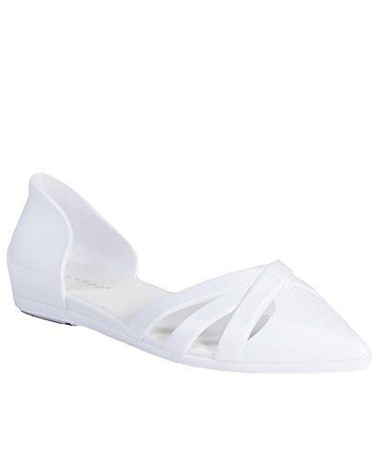 Breckelles Dames Faux Lederen Dorsay Puntschoen Flats Witte Gelei