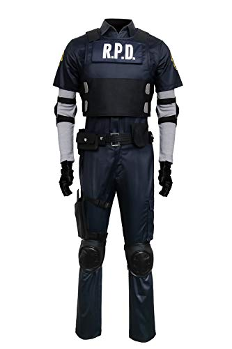 COSFLY Adult Men Resident 2 Remake Biohazard Leon Cosplay Police Costume Outfits (Small) Navy Blue -