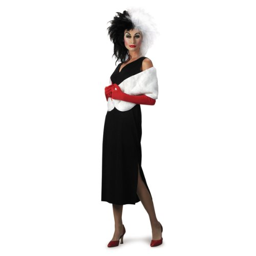 Disguise Adult 101 Dalmatians Disney Cruella De Vil Costume, Black/White, Large (12-14) (Adult Cruella De Vil Costume)