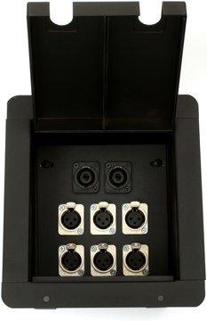 Pro Co Sound PM6XF2SP Recessed Floor Box, 6) XLRF, 2) Speakon by Pro Co Sound