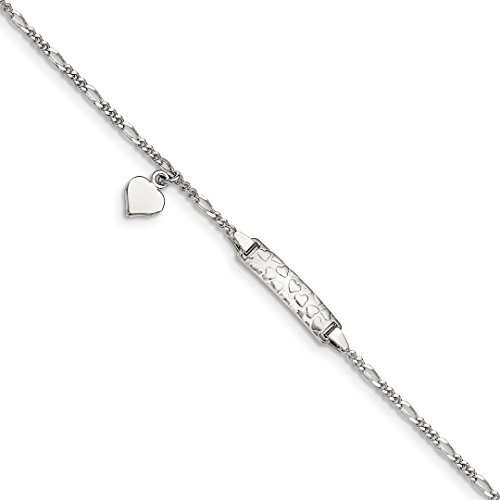 (925 Sterling Silver Heart Plate .75in Extension Childrens Bracelet 5.5 Inch Id Fine Jewelry Gifts For Women For)