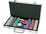 Da Vinci 300 11.5 gram Striped Poker Chip Set w/3 Dealer Buttons, 2 Decks of Cards, Case