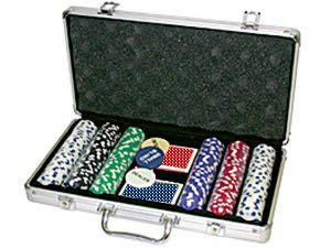(Da Vinci 300 11.5 gram Striped Poker Chip Set w/3 Dealer Buttons, 2 Decks of Cards, Case)