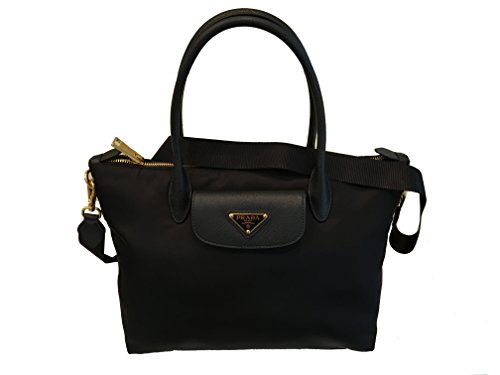 Prada Black Tessuto Saffiano Nylon Shopping Tote Bag 1BA106 - Tessuto Black Bag