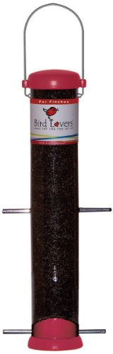 Duncraft Accent - Droll Yankees BL15RF Bird Lovers 15-Inch Finch Feeder with Red Accents