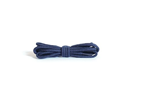 Kaps Round Thin Laces, quality 100% cotton shoe laces for casual and fashion footwear, made in Europe, 1 pair, many colours and lengths (75 cm - 29 inch - 4 to 5 eyelet pairs/57 - navy)