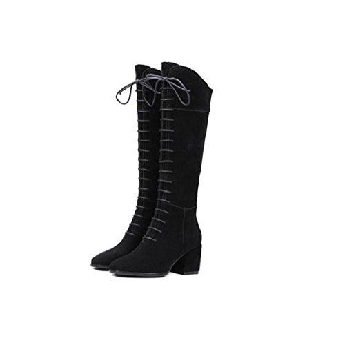 Scarpe di cuoio di punta le dita dei piedi coscia alta sopra il ginocchio della donna retrò Cross cinturino stivali lunghi , gray , 34 38