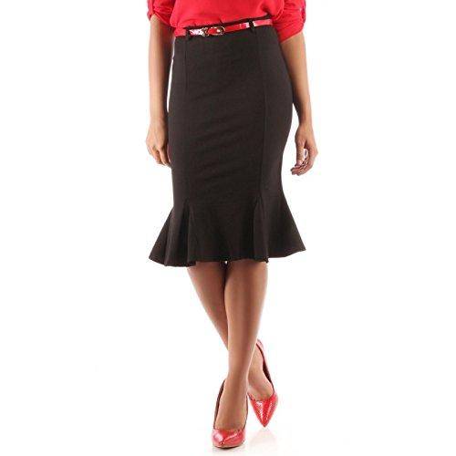 La Modeuse-Falda para mujer media, larga con volantes negro