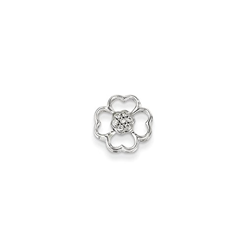 14k White Gold Diamond Flower Pendant Charm Necklace Slide Fine Jewelry For Women Gift Set ()
