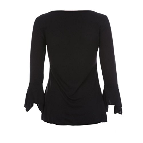 SKY Mujeres Cintura V-cuello capa fina Autumn Flare 3/4 Sleeve Slim V Neck Buttons Blouse Tops Shirt Tee Negro S~5XL Negro