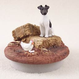 Conversation Concepts Miniature Fox Terrier Black & White Candle Topper Tiny One ''A Day on the Farm''