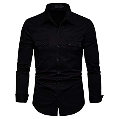 NUWFOR Men's Long Sleeve Lattice Painting Large Size Casual Top Blouse Shirts