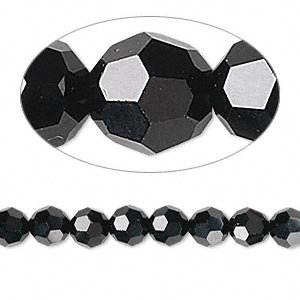 (Swarovski Crystal 5000 6mm Jet (Black) Faceted Round Beads - 12 Pack)