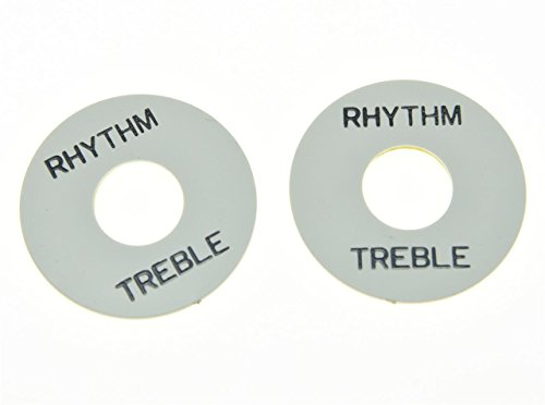 Ring Treble (KAISH 2pcs White w/ Black LP Guitar Toggle Switch Washer Plate Rhythm Treble Ring for Les Paul)
