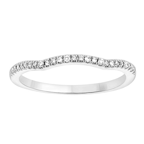 10k Gold Round Cut White Natural Diamond Curved Shape Half Eternity Band Ring (0.08cttw, IJK/I2-I3) by EternalDia