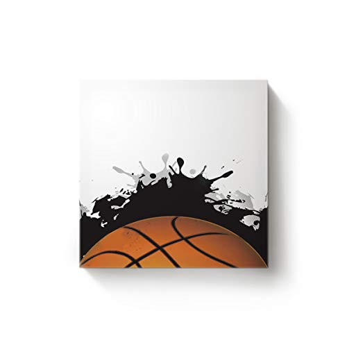 Arts Language Canvas Wall Art Square Oil Painting Office Home Decor,Hand Painting Basketball Printing Artworks for Christmas,Stretched by Wooden Frame,Ready to Hang,16 x 16 (New Logo Framed Poster Basketball)