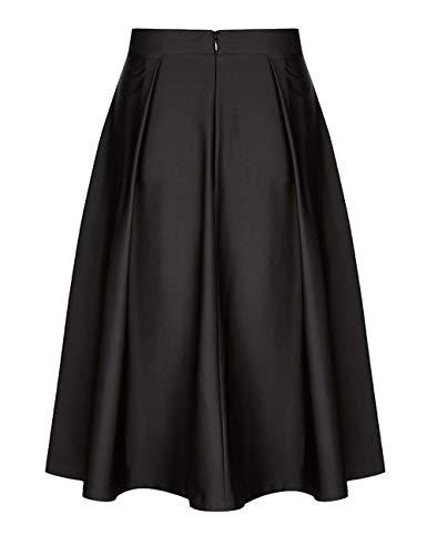 Zhuhaijq Femmes Dames Genou avec Mode Pliss t Jupe Jupes Elastique black du Longueur Taille Midi Ceinture Evases Haute 55rXqP
