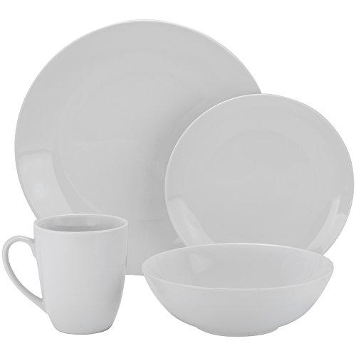 10 Strawberry Street Simply Coupe 16 Piece Dinnerware Set, White