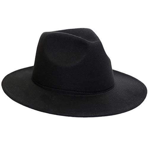 Crushable Wool Felt Outback HatWomen Panama Wide Brim Cap Black